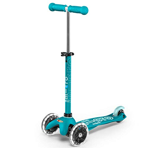 Micro Kickboard - Mini Deluxe LED - Three Wheeled, Lean-to-Steer Swiss-Designed Micro Scooter for Toddlers & Children with Motion-Activated Light-Up Wheels for Ages 2-5 (Aqua)