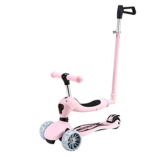 Hchao 3 en 1 Scooter para niños, triunos Plegables livianos, Asiento extraíble Ajustable y Empuje, Empuje el Scooter para niños con lámparas, para niñas, niños de 3 a 12 años