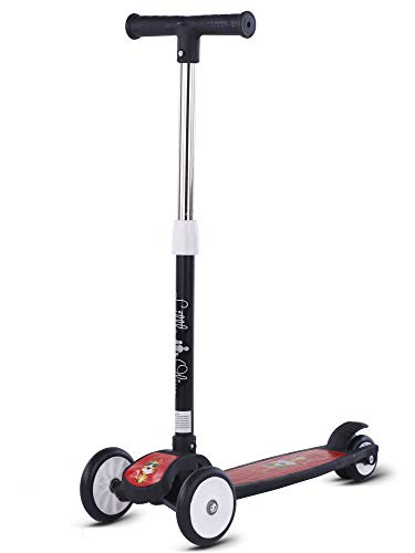 Little Olive Scooter for Kids 3 Years Above Age 4 Level Adjustable Height, Foldable, PU Wheels, Weight Capacity 75 kgs Kids Scooter with Brakes (Black)
