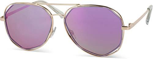 styleBREAKER gafas de sol con efecto bicromado, gafas de aviador/piloto con lentes angulosas y bisagras de muelle, unisex 09020068, color:Dorado montura/Lila de vidrio de espejo