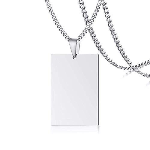 Pullover Kette personalisierte Silberne Erkennungsmarke Anhänger aus Edelstahl Military Army Männerschmuck 24 Zoll