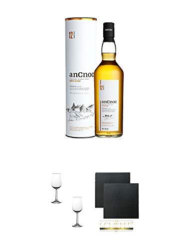 AnCnoc 12 Jahre Single Malt Whisky 0,7 Liter + Nosing Gläser Kelchglas Bugatti mit Eichstrich 2cl und 4cl - 2 Stück + Schiefer Glasuntersetzer eckig ca. 9,5 cm Ø 2 Stück