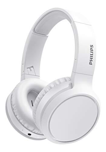 Philips H5205WT/00 Auriculares Inalámbricos Bluetooth, Auriculares Supraaurales (Micrófono, Botón Refuerzo Graves, 29 Horas Reproducción, Carga Rápida, Aislamiento Sonido) Blanco - Modelo 2020/2021