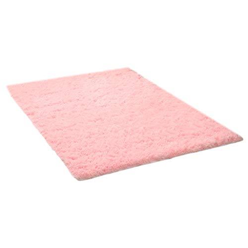 Yushu - Alfombra antideslizante de lana de seda lavada gruesa, alfombra de sala de estar, alfombra rectangular esponjosa, antideslizante, alfombra de piel sintética, alfombra pequeña para el hogar