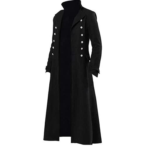 Giacca da uomo gotico Steampunk Vintage vittoriano Frock Coat uniforme costume medievale pirata vichingo formale smoking cappotto Nero M