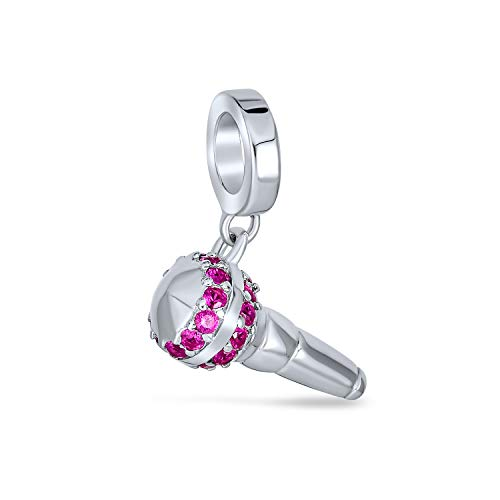 Bling Jewelry Amante De La Música Micrófono Rosa CZ Colgante Albalorio para La Mujer Adolescente Encaja Pulsera Europea