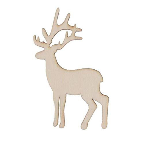 JYKFJ 5PCS Christmas Deer Veneers Slices for Patchwork Xmas Decoration Wooden Craft Christmas Tree Pendants Hanging Ornaments