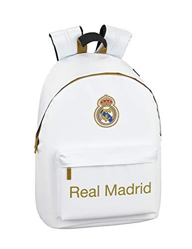Real Madrid CF 611954819, Mochila Unisex niños, Blanco, 31x16x41 cm