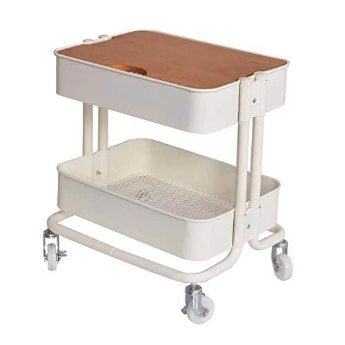 Tavolino Tavolino, Carrello Portavivande a 2 Livelli con Piano D'appoggio, Ruota Universale per Tavolino con Freno, Organizer in Metallo Tavolo d'angolo (Color : White)