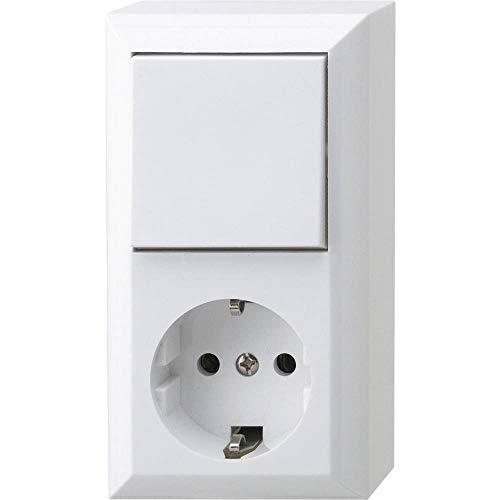 REV Ritter 0510156777 - PlanoLuxe AP Kombi, Interruttore con presa di corrente, colore: Bianco