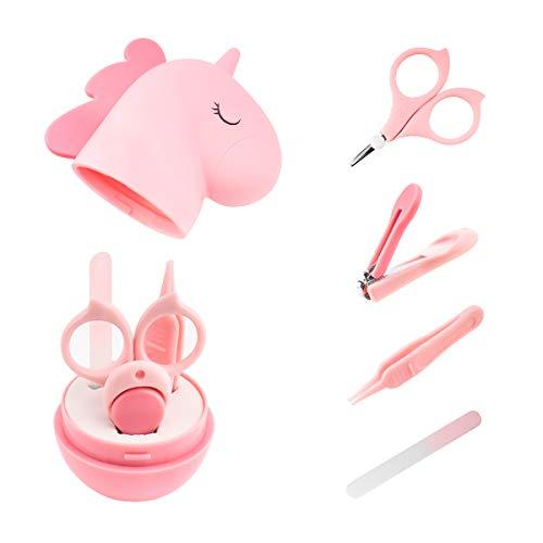 Baby Nagelpflegeset Neugeborene 4 in 1, Babypflege Baby Maniküre Set mit sicherem Baby Nagelknipser, Schere, Pinzette und Nagelfeile Rosa