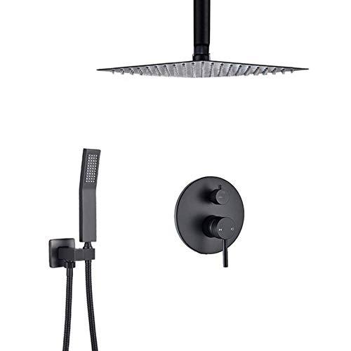 Sistema de ducha tipo lluvia, juego combinado de ducha negra mate oculta con agua fría y caliente Juego de grifos de ducha montados en el techo con cabezal de ducha de lluvia cuadrado, ducha de m