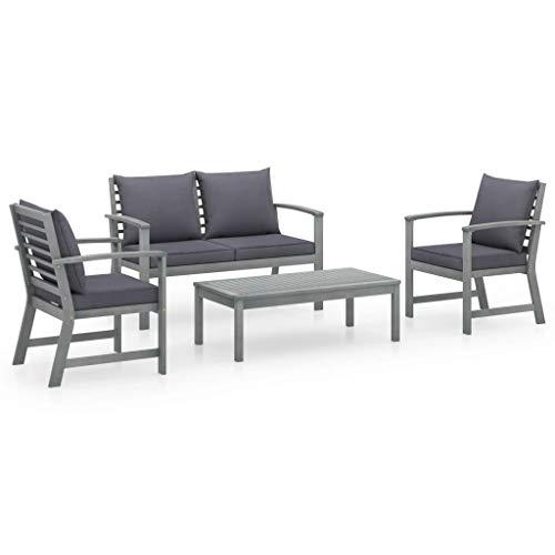 vidaXL Juego de muebles de jardín de madera de acacia maciza, 4 piezas, con cojines, conjunto de asientos, sofá, sillón, mesa, juego de muebles de jardín