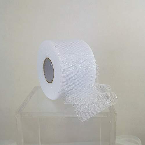 Windmill Sales, Inc. Bobina Tulle Glitter Bianco h Cm 6 Mt 50 per Decorazioni Imballaggio Natale
