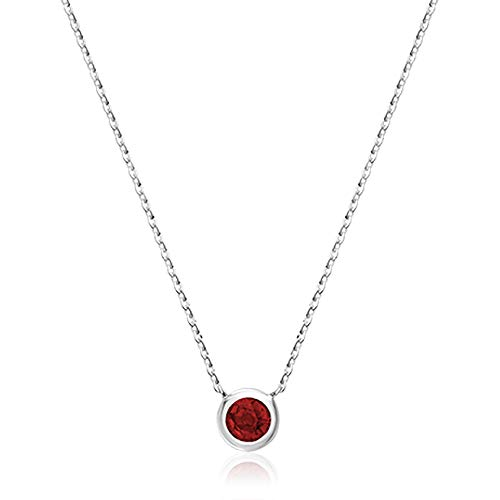 Jewels By Erika 10K Gold and Ruby Pendant - 17' Cable Chain (White-Gold, Ruby)
