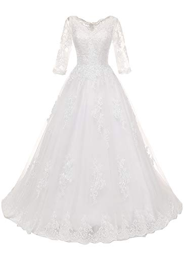 Women's Plus Size Bridal Ball Gowns Lace Wedding Dresses with 3/4 Sleeves Ivory 22W