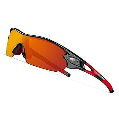 TOREGE Tr90 Flexible Kids Sports Sunglasses Polarized Glasses for Junior Boys Girls Age 3-12 TR04 (Black&Red&Red Lens)