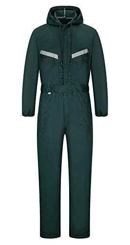 Yukirtiq Hombre Pantalones con Peto de Trabajo para jardín y Garaje, Encapuchado Mono de Trabajo Mecánico o Industria Cintas Reflectantes Resistente al Aceite para Mecánicos (XL, Verde)