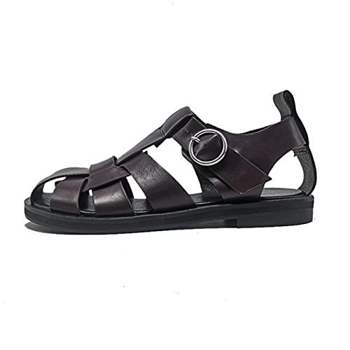 WXDC Correa de Hebilla para Mujer Sandalias de Playa Huecas, Zapatos de Cuero, Calzado para Damas Frescas de Verano tamaño 34-42