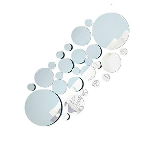 censhaorme 26pc / set superficie redonda Espejo de pared de acrílico etiqueta Adhesivos de pared sala de estar casera decoraciones del dormitorio