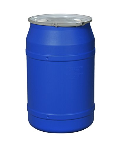 Eagle 1656MBBG Straight-Sided Drum with Metal Band and Plastic Lid with Bungs, 55 gal, Blue
