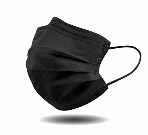 URUSANA 50 Stück Schwarze Einweg-Gesichtsmasken Einweg Maske Mund und Nasenschutz Mundbedeckung Behelfsmaske Mundschutz atmungsaktiv Staubmaske Schwarze Maske Dehnbare elastische Ohrschlaufen