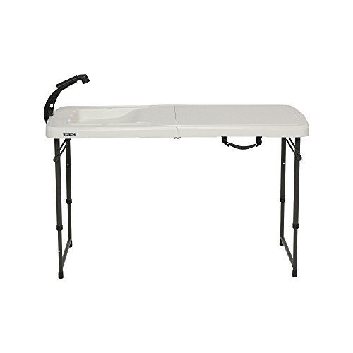 LIFETIME 280560 4 Foot Folding Fish Fillet Cleaning Table with Sink for Camping, Picnic, Garden, Outdoors