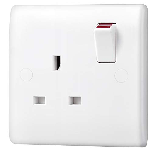 BG Electrical 821DP-01 Single Switched Power Socket, White Moulded, 13 Amp