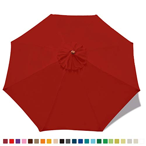 ABCCANOPY 9ft Outdoor Umbrella Replacement Top Patio Umbrella Market Umbrella Replacement Canopy with 8 Ribs(Red)