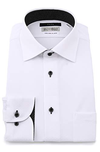 [アイシャツ] i-shirt 完全ノーアイロン ストレッチ 超速乾 スリムフィット 長袖 アイシャツ ワイシャツ メンズ ノンアイロン 018 ホワイト セミワイド ブライトスクエア 別生地切換(ドット) M15118014401 日本 LL86(首回り43cm×裄丈86cm) (日本サイズ2L相当)