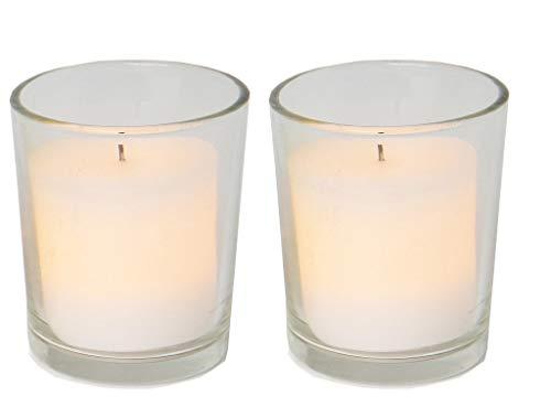 Star Lot de 2 bougies chauffe-plat à LED dans un verre Lumière vacillante Blanc Piles incluses 7 x 4,5 cm