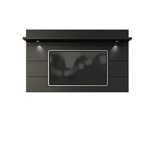 Manhattan Comfort Cabrini 2.2 Panel Collection Floating Wall TV Panel TV Wall Mount with Shelf, 85.62' L x 8.46' D x 94.35' H, Black