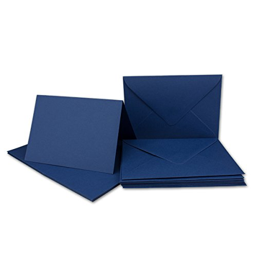 20x Faltkarten Set mit Brief-Umschlägen Dunkelblau/Nachtblau - DIN A6 / C6-14,8 x 10,5 cm - Premium Qualität - FarbenFroh® von Gustav NEUSER®