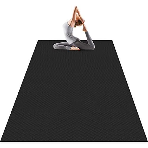 Odoland Esterilla de Yoga Grande 200 x 100 x 0.6 cm, Alfombrilla Deporte 6mm Grueso de Ecológico TPE, Antideslizante, Colchoneta de Pilates, Estiramientos, Gimnasia en Casa o en Gimnasio, Negro