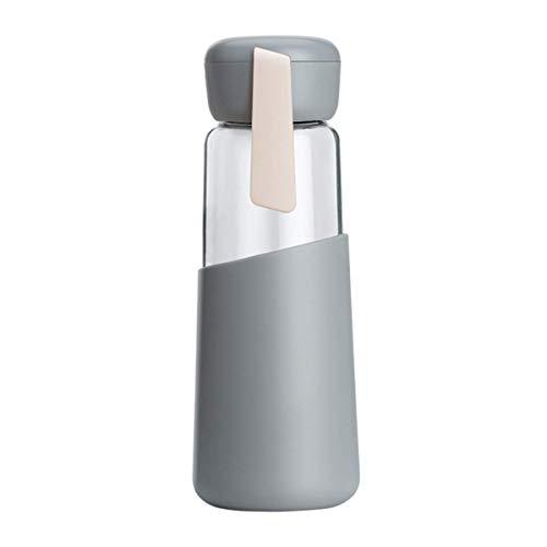 Mosako Botella de agua de cristal con funda antideslizante de silicona para deportes al aire libre, 400 ml, color gris