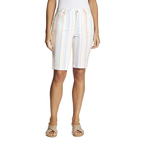 Gloria Vanderbilt Women's Mid Rise Belted Jean Bermuda Short, Springtime Stripe Coral Essence, 16