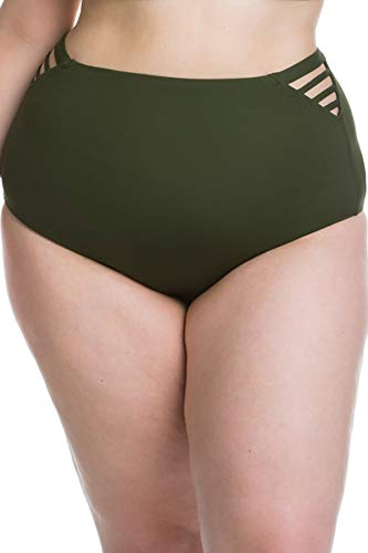 Becca Etc by Rebecca Virtue Women's Plus Size Strappy Side High Waist Bikini Bottom Bay Leaf 0X