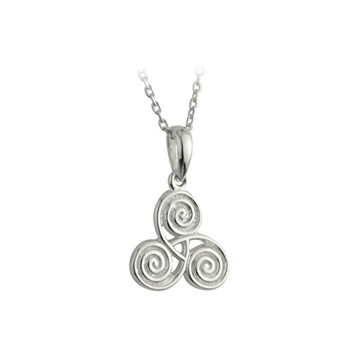 Celtic Triple Spiral Necklace Pendant Irish Sterling Silver Made in Ireland