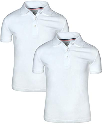French Toast Girl 's 2 Pack Uniform Short Sleeve Polo Shirts, White, Medium 7 /8
