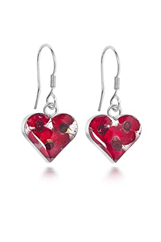 Sterling Silver Heart Drop Earrings Made With Real Poppies