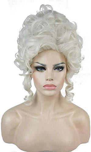Cosplay Perücke Klassische 18. Jahrhundert Perücken Für Frauen Damen Erwachsene Kurze Weiße Lockige Halloween Cosplay Zubehör Synthetische Volles Haar Ayhvia