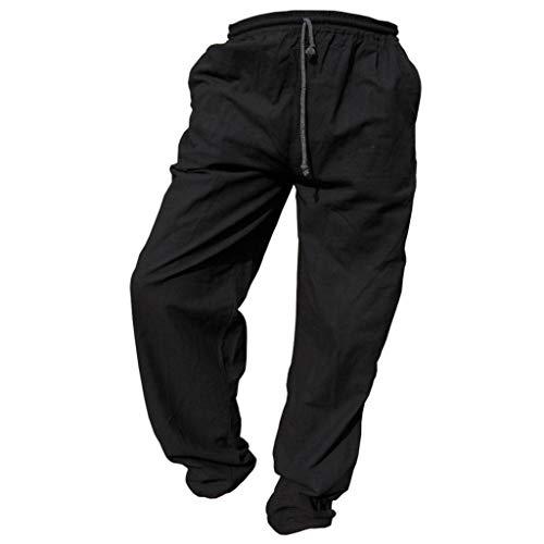 Panasiam Pantalones de tela para uso diario, deportes, yoga, correr etc., para personas altas a partir de 1,80m De 100% algodón. negro 122 cm