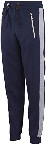 Galaxy by Harvic Boys Active Fleece Jogger Pant with Panel Detail, Black w/Ca. (X-Large / 18-20, Navy/Heather Grey Panel)'
