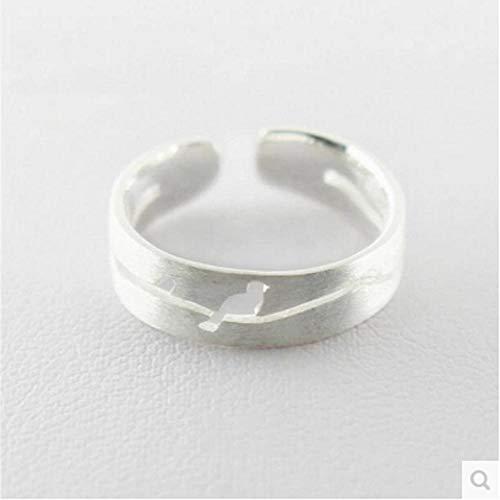 Luziang S925 Sterling Silber weibliche Mode Zeichnung hohlen Vogel Zweig Ring-Romantisches Modedesign