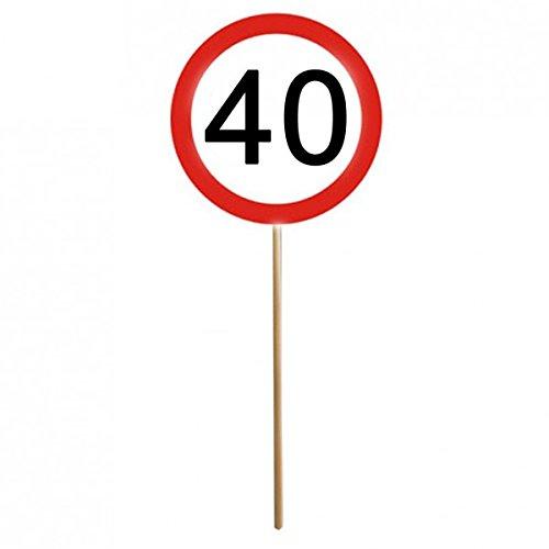 12er Set 40. Geburtstag Mini Schilder Verkehrsschilder mit Stab Deko
