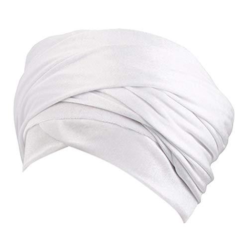 DOLDOA Hut Damen Sommer,Fashion Hair Loss Beanies Kopfwickel Schal Cancer Chemo Cap (Weiß)