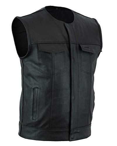 Ahint Men's Collarless Leather Vest Motorcycle Biker Club Concealed Carry Outlaws (4XL) Black