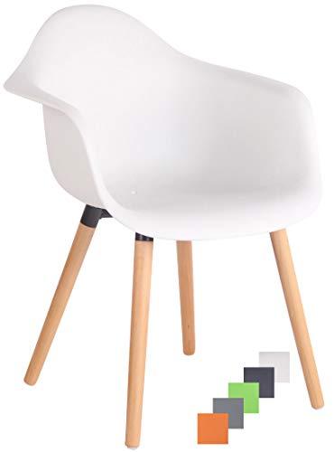 CLP Gartenstuhl Gaffney Mit Kunststoff-Sitzschale I Kunststoffstuhl Mit Rückenlehne I Sitzhöhe Von 45 cm I Buchenholzgestell, Farbe:weiß, Gestell Farbe:Natura