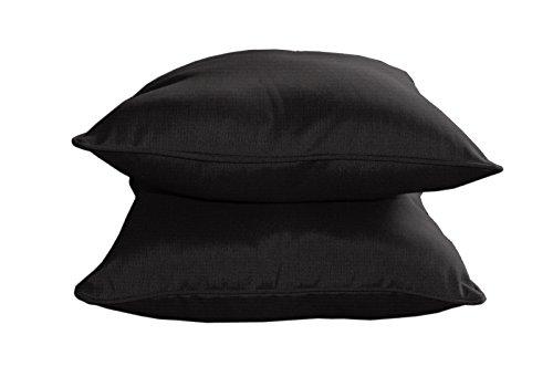 BHG Sunbrella Designer Dekokissen mit Paspelierung, 38,1 cm, Schwarz, 2 Stück