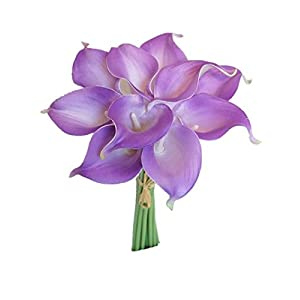 """Silk Flower Arrangements Sweet Home Deco Latex Real Touch 15"""" Artificial Calla Lily 10 Stems Flower Bouquet for Home/Wedding (Lavender)"""